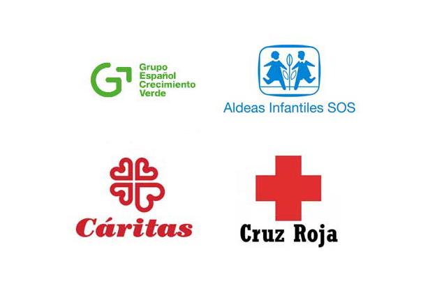 Logotipos Grupo español Crecimiento Verde Cáritas Cruz Roja Aldeas Infantiles SOS